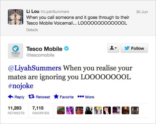 Tesco mobile tweet